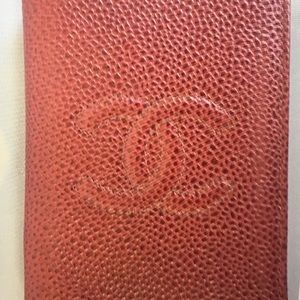 💯 Authentic Chanel Red Caviar Leather Card Case